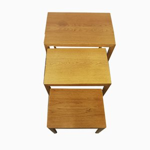Mid-Century Danish Oak Nesting Tables by Severin Hansen for Haslev Møbelsnedkeri