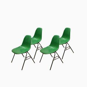Sillas de comedor modelo DSS Mid-Century de fibra de vidrio verde de Charles & Ray Eames para Mobilier International. Juego de 4
