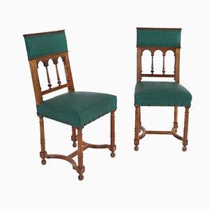 Chaises d'Appoint Anciennes en Noyer, Set de 2
