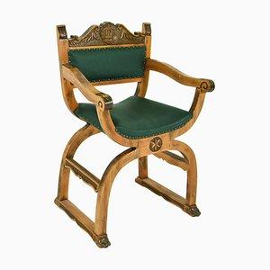 Antiker Armlehnstuhl aus Holz & Leder