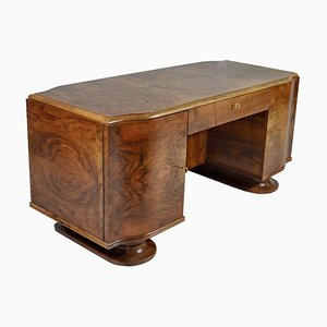 French Art Deco Walnut and Mahogany Desk, 1930s