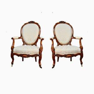 Antike viktorianische Beistellstühle aus Nussholz, 2er Set