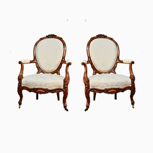 Antique Victorian Walnut Side Chairs, Set of 2