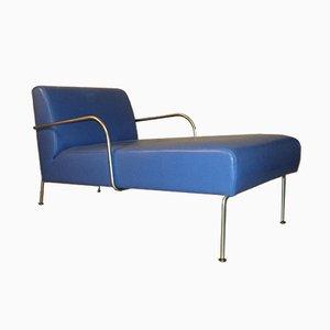 Chaise Longue en Vinyle Bleu d'Ikea, Italie, années 80