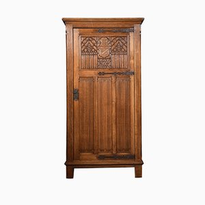Antique Carved Oak Hall Wardrobe