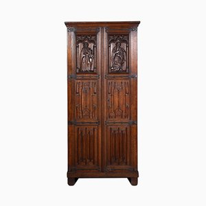 Antique Gothic Oak Cupboard