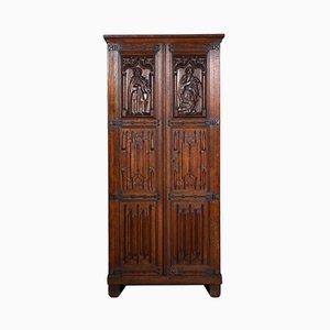 Antique Gothic Oak Cupboard