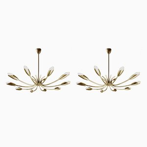 Brass Ceiling Lamp and Sconces, 1950s, Set of 3
