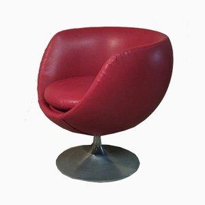 Silla giratoria Egg italiana de vinilo rojo de OfficinadiRicerca, años 60