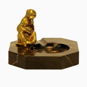Art Déco Aschenbecher aus Bronze & Marmor mit Affe, 1920er