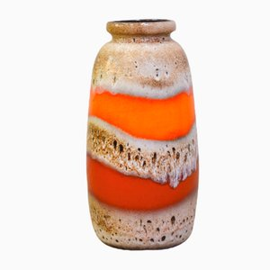 Orange- & cremefarbene Vase von Scheurich, 1970er