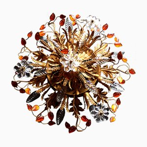 Amber Glass & Crystal Blossom and Leaf Ceiling Lamp, 1950s