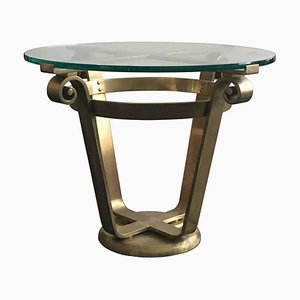 Mid-Century Art Deco Style Brass and Glass Side Table