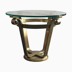 Table d'Appoint Mid-Century Style Art Déco en Laiton et Verre