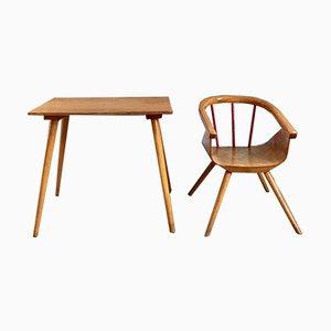 Juego de escritorio y silla infantiles Mid-Century de Baumann