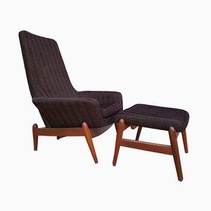 Danish Armchair and Footstool Set by Madsen & Schübel, 1970s