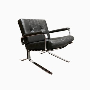 Black Leather Joker Armchair by Olivier Mourgue for Airborne, 1960s