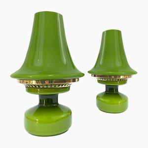Lampes de Bureau Vertes en Verre par Hans-Agne Jakobsson pour Hans-Agne Jakobsson AB Markaryd, années 60, Set de 2