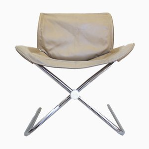 German Leather and Chrome Folding Swivel Chair by Simon Desata for Cor, 1980s
