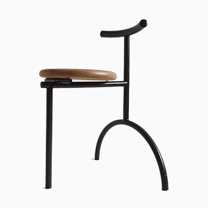 Beistellstuhl mit schwarzem Metallgestell & Sitz aus Buche, 1980er