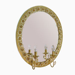 German Crystal and Gilt Brass Illuminated Mirror by Christoph Palme for Palwa, 1960s
