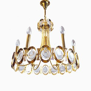 Hollywood Regency Gilt Brass and Crystal Chandelier by J.L. Lobmeyr, 1960s