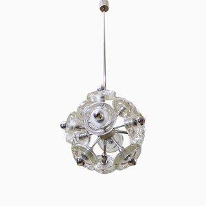Lámpara de araña Sputnik era espacial de cristal de Murano y metal cromado de Peill & Putzler, años 70