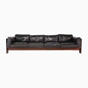 Rosewood and Leather Sofa by Tobia & Afra Scarpa for Gavina, 1970s