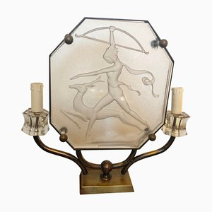 Italian Art Deco Glass and Brass Table Lamp, 1930s