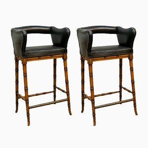 Antique Bamboo Bar Stools, Set of 2