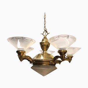 Italian Art Deco Brass and Glass Ceiling Lamp, 1930s