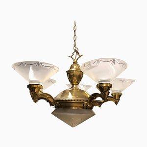 Lámpara de techo italiana Art Déco de latón y vidrio, años 30