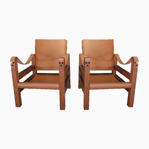 Leather and Thuya Lounge Chairs, 1960s, Set of 2
