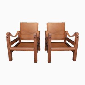Sessel mit Holzgestell & Lederbespannung, 1960er, 2er Set