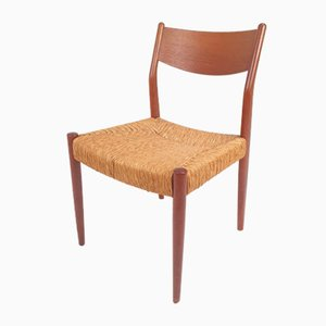Beistellstuhl aus Stroh & Teak von Fristho, 1960er