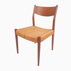 Chaise d'Appoint en Paille et Teck de Fristho, années 60