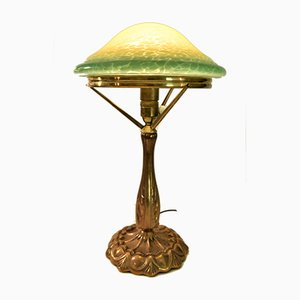 Large Swedish Art Nouveau Glass and Brass Table Lamp, 1920s