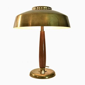Swedish Art Deco Brass and Beech Table Lamp from Böhlmarks, 1930s