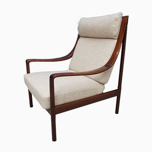 Swedish High Back Lounge Chair, 1960s