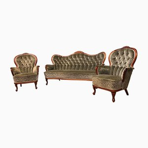 Antique Biedermeier Sofa and Armchairs, Set of 3