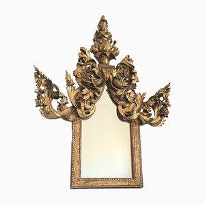 Miroir Mid-Century en Bois Doré