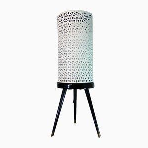 Dreibeinige Mid-Century Stehlampe aus perforiertem Metall & Glas, 1950er