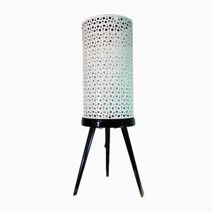 Mid-Century Perforated Metal and Glass Tripod Floor Lamp, 1950s