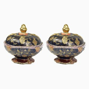 Joyero japonés antiguo de porcelana. Juego de 2