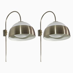 Mid-Century Italian Adjustable Chrome Sconces, Set of 2