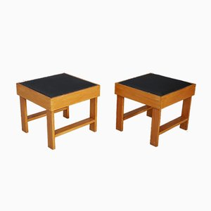 Pear Wood and Vinyl Ottomans by BBPR, 1930s, Set of 2
