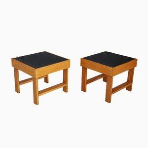 Poggiapiedi in legno di pero e vinile di BBPR, anni '30, set di 2