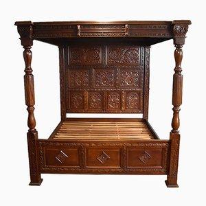 Large Vintage Tudor Style Mahogany Bed