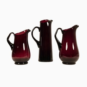 Glass Pitchers by Per Lütken for Holmegaard, 1950s, Set of 3