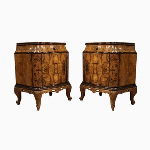 Italian Walnut, Burl, and Beech Nightstands, 1950s, Set of 2
